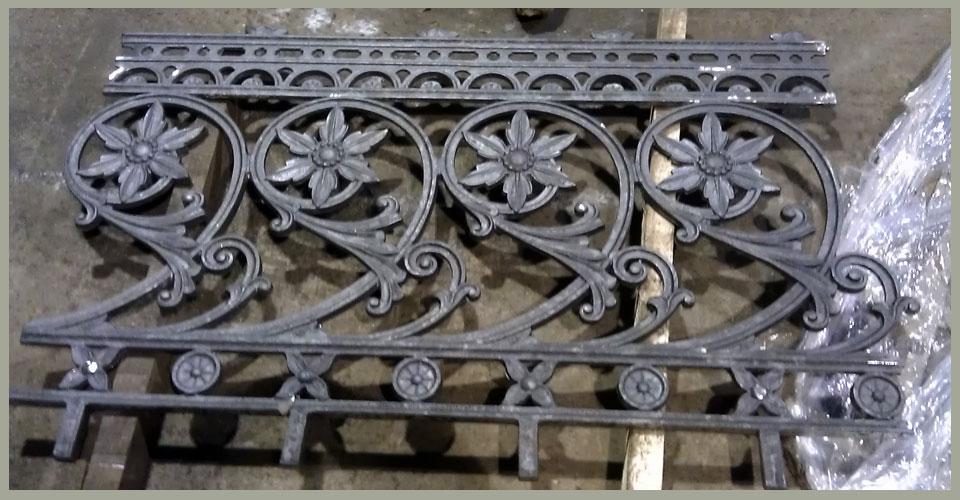 Cast iron floral restored handrail